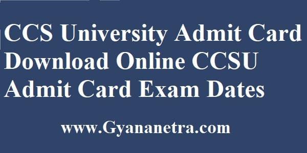 CCS University Admit Card Download Online