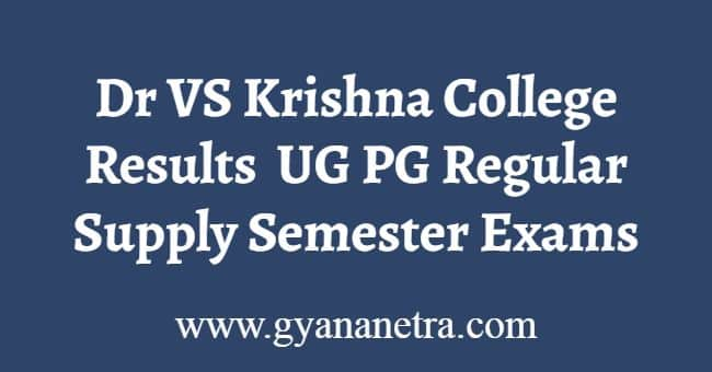 Dr VS Krishna College Results
