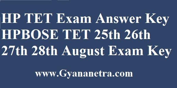 HP TET Answer Key Download HPBOSE