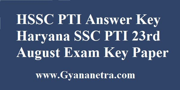 HSSC PTI Answer Key Download Online