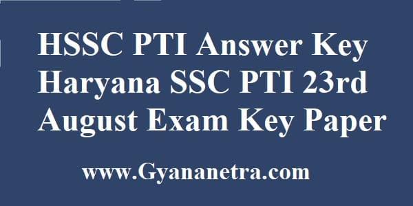 HSSC PTI Answer Key Download Online