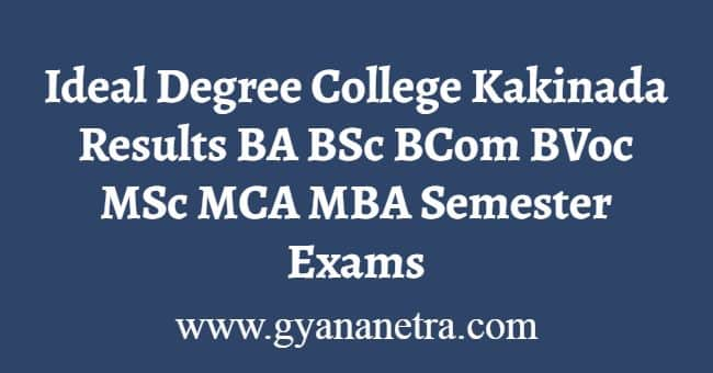 Ideal Degree College Kakinada Results