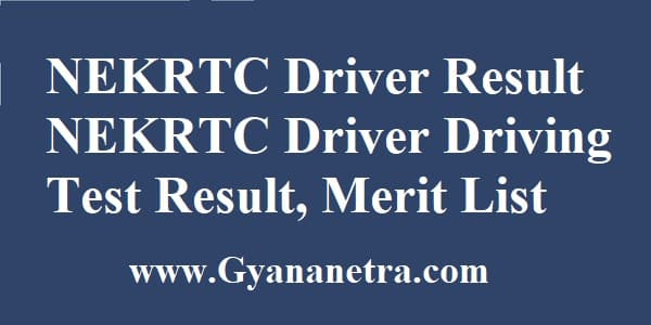 NEKRTC Driver Result Merit List