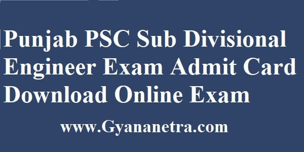 PPSC Sub Divisional Engineer Admit Card