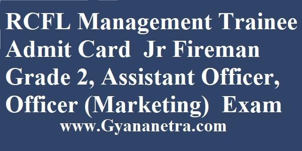 RCFL Management Trainee Admit Card