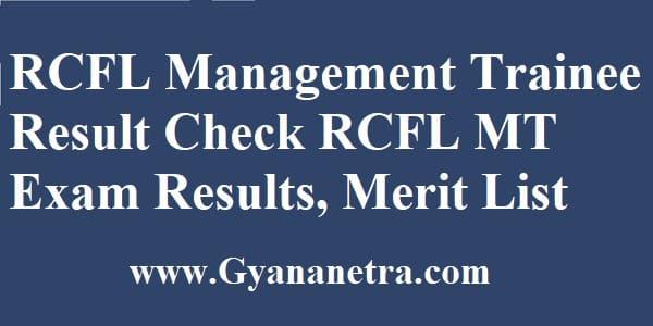 RCFL Management Trainee Result