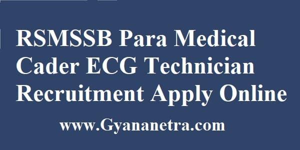 RSMSSB Para Medical Cader ECG Technician Recruitment Apply Online