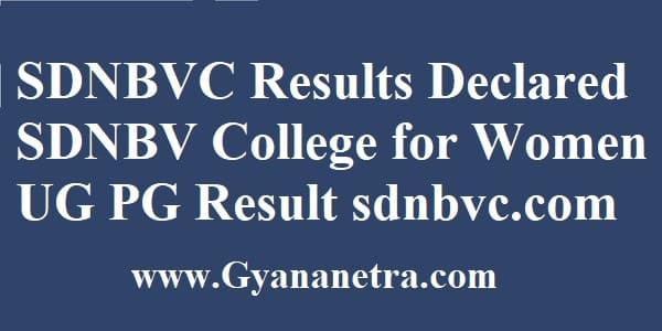 SDNBVC Results UG PG Exam
