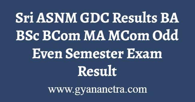 Sri ASNM GDC Results