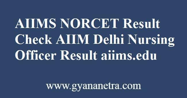 AIIMS NORCET Result Check Online
