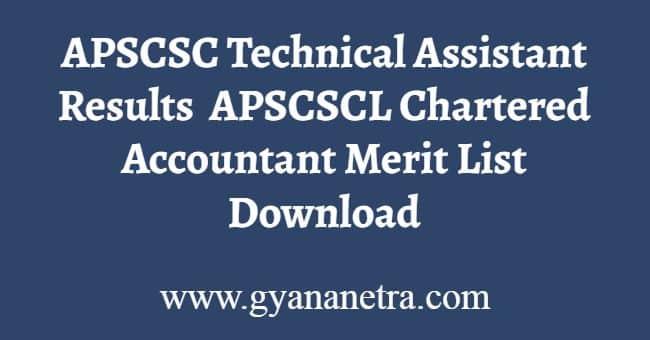 APSCSC Technical Assistant Results