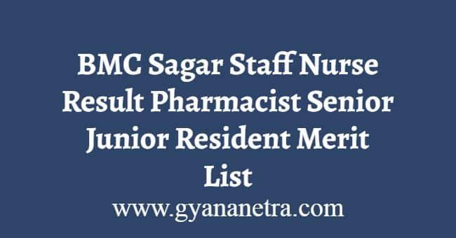 BMC Sagar Staff Nurse Result