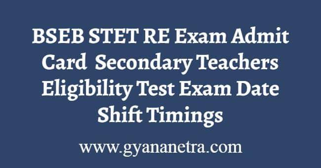 BSEB STET RE Exam Admit Card