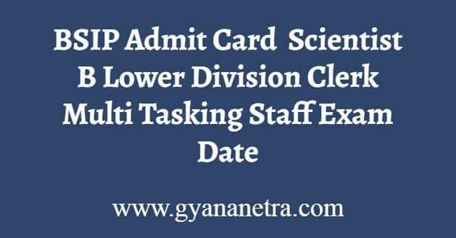 BSIP Admit Card