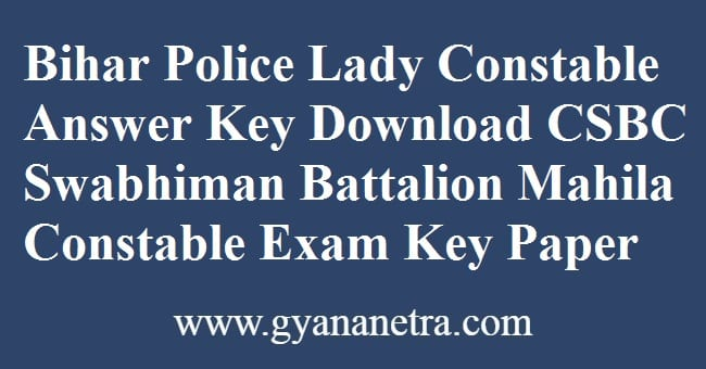 Bihar Police Lady Constable Answer Key Download