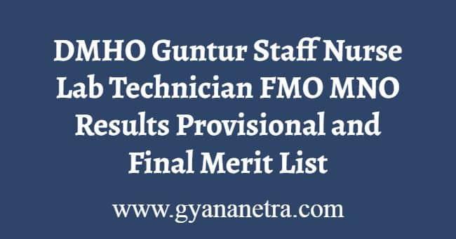 DMHO Guntur Staff Nurse Results
