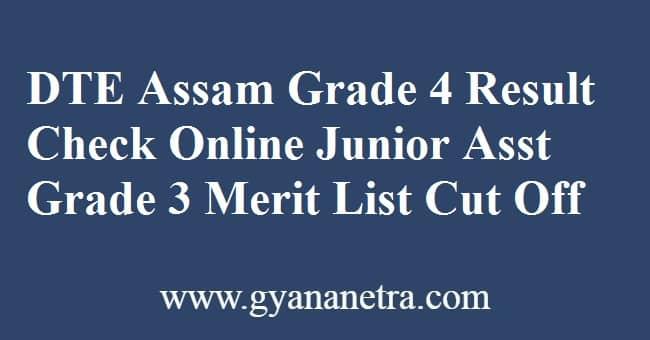 DTE Assam Grade 4 Result Check Online