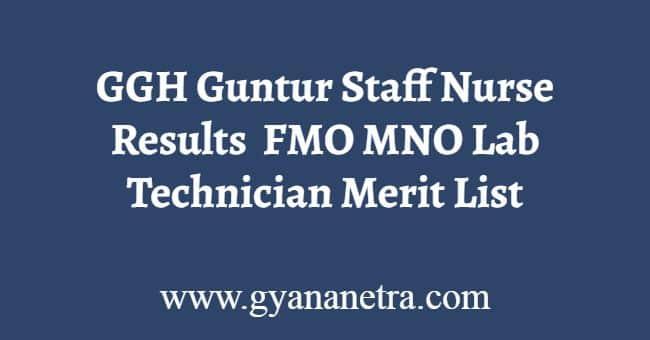 GGH Guntur Staff Nurse Results