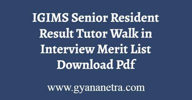IGIMS Senior Resident Result