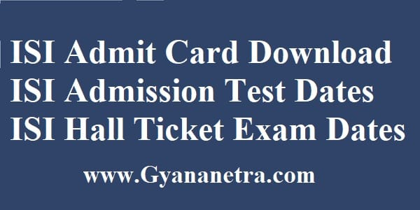 ISI Admit Card Download