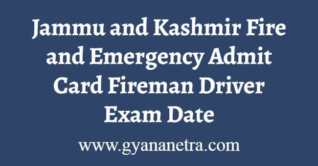 JK Fire and Emergency Admit Card