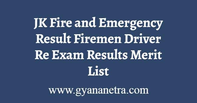 JK Fire and Emergency Result