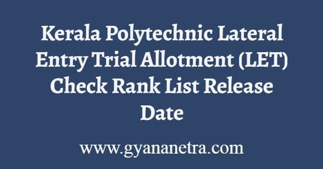 Kerala Polytechnic Lateral Entry Trial Allotment