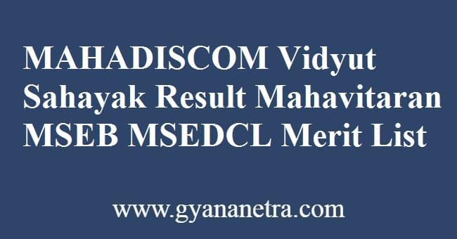 MAHADISCOM Vidyut Sahayak Result