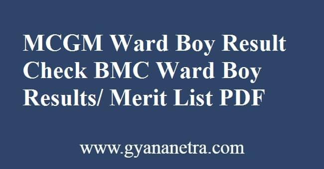 MCGM Ward Boy Result Merit List