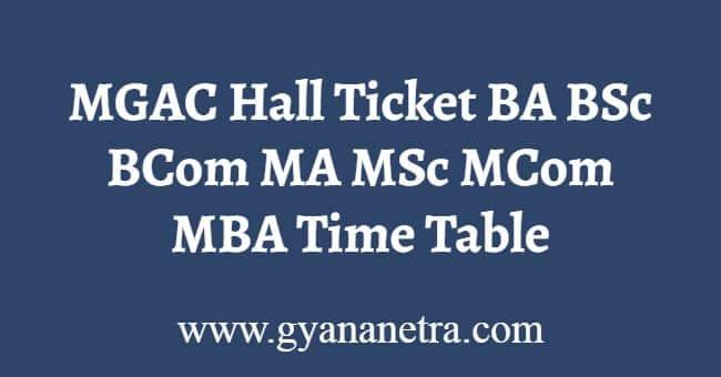 MGAC Hall Ticket