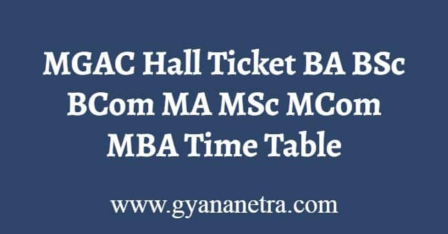 MGAC Hall Ticket