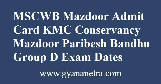 MSCWB Mazdoor Admit Card Download online
