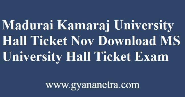 Madurai Kamaraj University Hall Ticket Exam