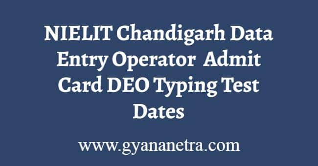 NIELIT Chandigarh DEO Admit Card