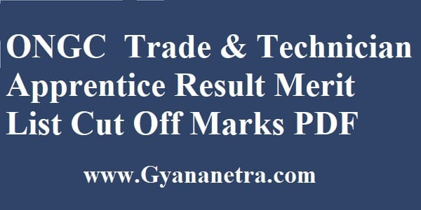 ONGC Apprentice Result Merit List