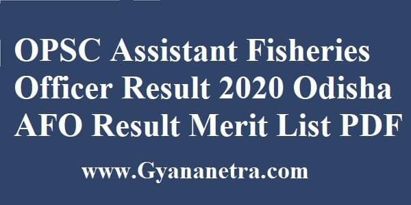 OPSC Assistant Fisheries Officer Result Merit List