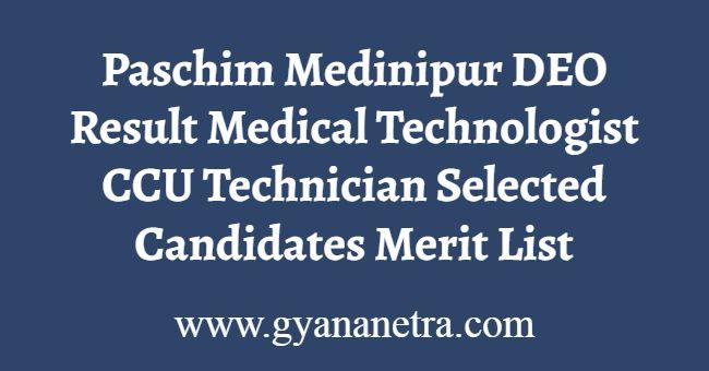 Paschim Medinipur DEO Result Merit List