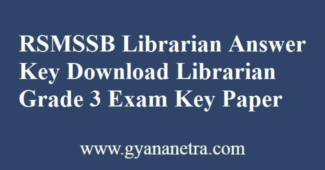 RSMSSB Librarian Answer Key PDF Download
