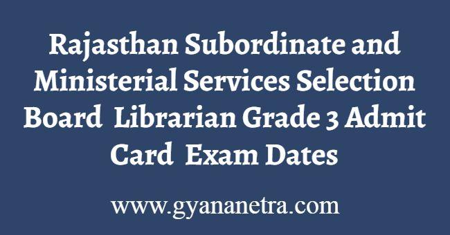 Rajasthan Librarian Grade 3 Admit Card