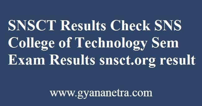 SNSCT Results Semester Exam