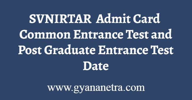SVNIRTAR Admit Card