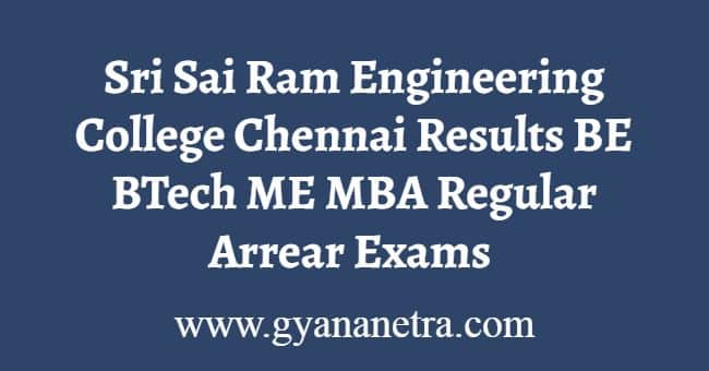 Sri Sai Ram Engineering College Chennai Results