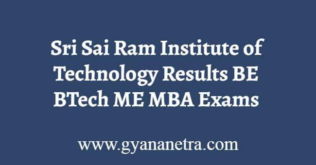 Sri Sai Ram Institute of Technology Results