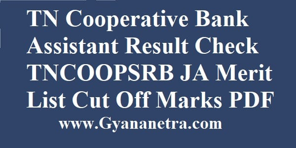 TN Cooperative Bank Assistant Result Merit List