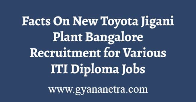Toyota Jigani Plant Recruitment