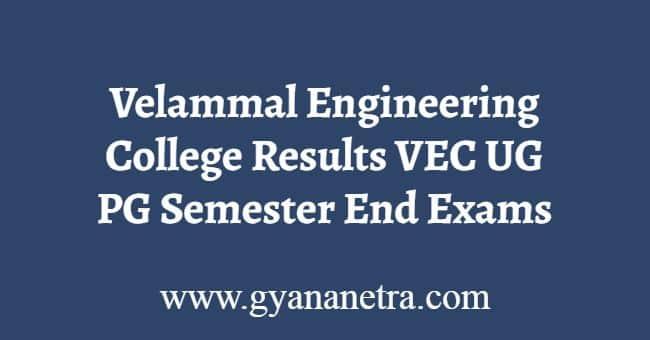 Velammal Engineering College Results