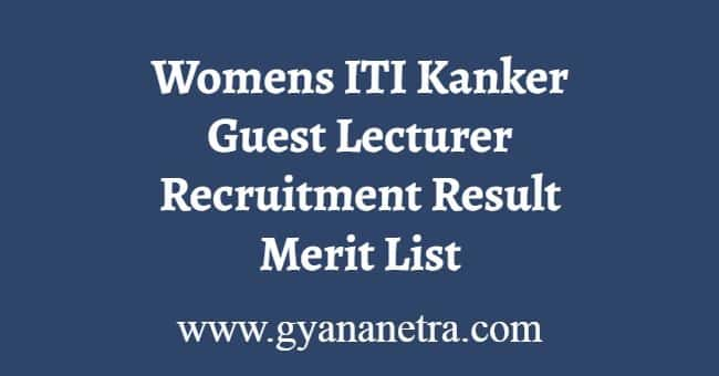 Womens ITI Kanker Guest Lecturer Recruitment Result