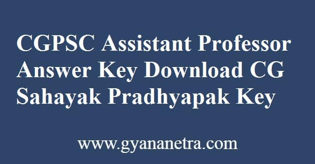 CGPSC Assistant Professor Answer Key PDF Download