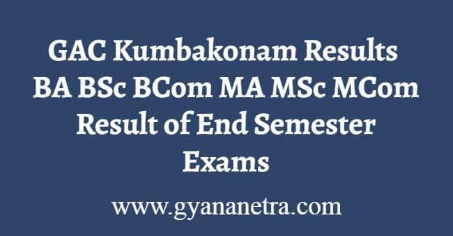 GAC Kumbakonam Results
