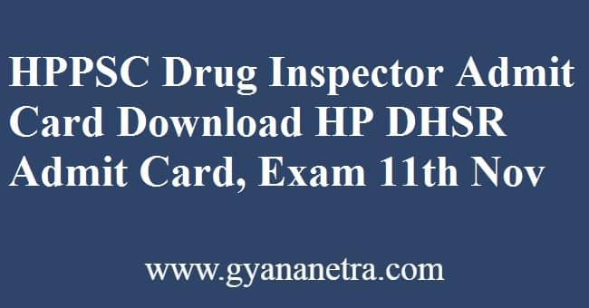 HPPSC Drug Inspector Admit Card